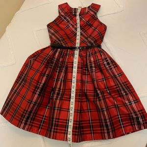 Red Plaid Taffeta Holiday Dress Size 10